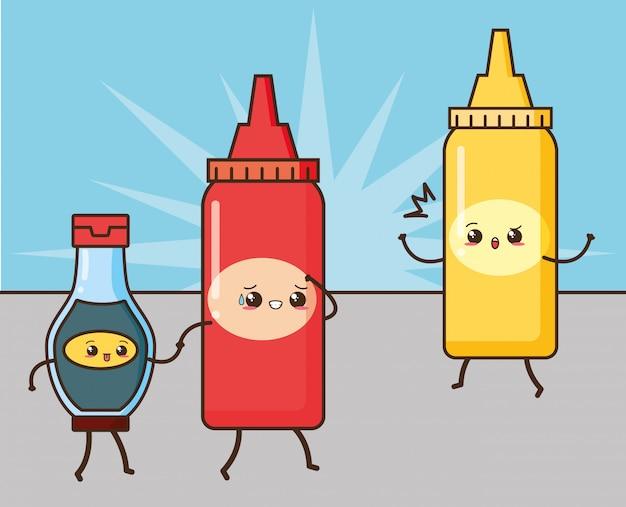 Ilustración de salsas lindas de comida rápida kawaii vector gratuito