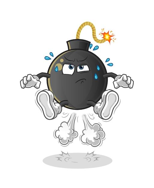 Ilustración de salto de pedo de bomba. personaje Vector Premium