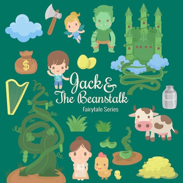 Ilustración de la serie de cuento de hadas jack y el beanstalk Vector Premium