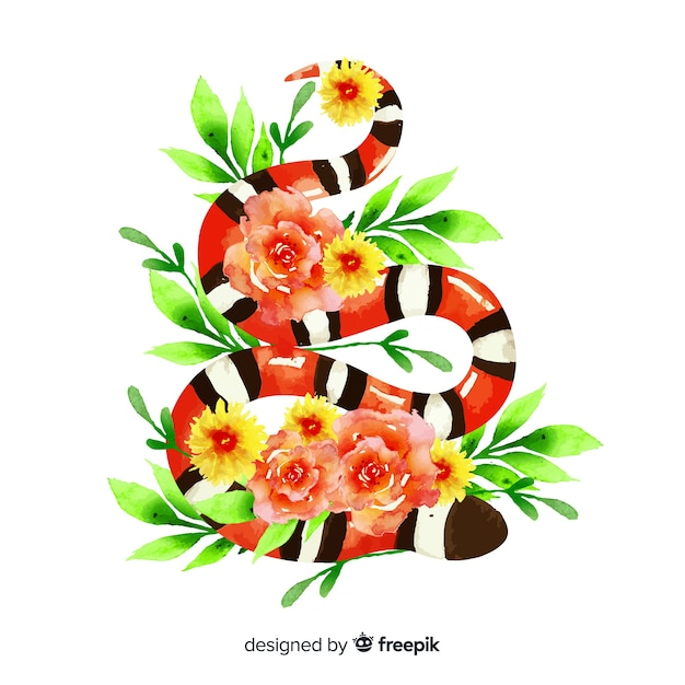 Ilustración serpiente acuarela con flores vector gratuito