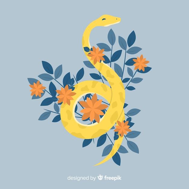 Ilustración serpiente dibujada a mano con flores vector gratuito