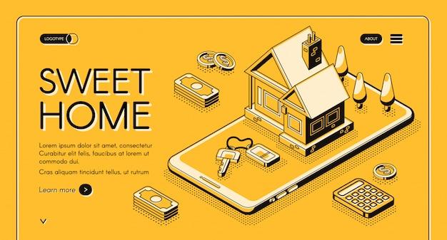 Ilustración del servicio de agencia inmobiliaria en línea delgada isométrica sobre fondo de semitono amarillo. vector gratuito