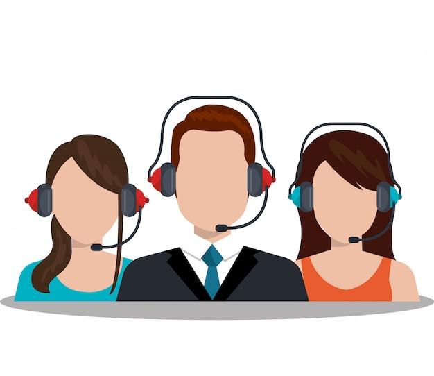 Ilustración del servicio de call center vector gratuito