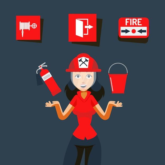 Ilustración de signo de seguridad contra incendios. imagen de ayuda en caso de emergencia, llama en interiores. chica en casco mostrar extintor de incendios Vector Premium