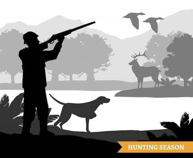 Ilustración de silueta de caza vector gratuito