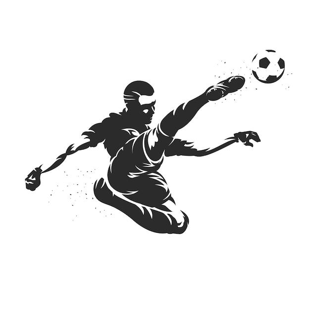 Ilustración de silueta de jugador de fútbol Vector Premium