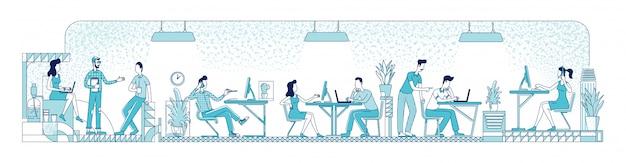 Ilustración de silueta plana de trabajadores de oficina de espacio abierto. gente de negocios, trabajadores corporativos delinean caracteres sobre fondo blanco. empleados ocupados en coworking lugar dibujo de estilo simple Vector Premium