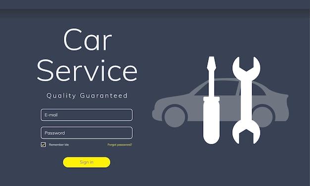 Ilustración del sitio web de servicio de coche. vector gratuito