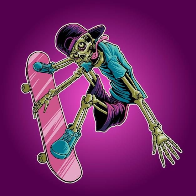 Ilustracin de skate de crneo  Vector Premium