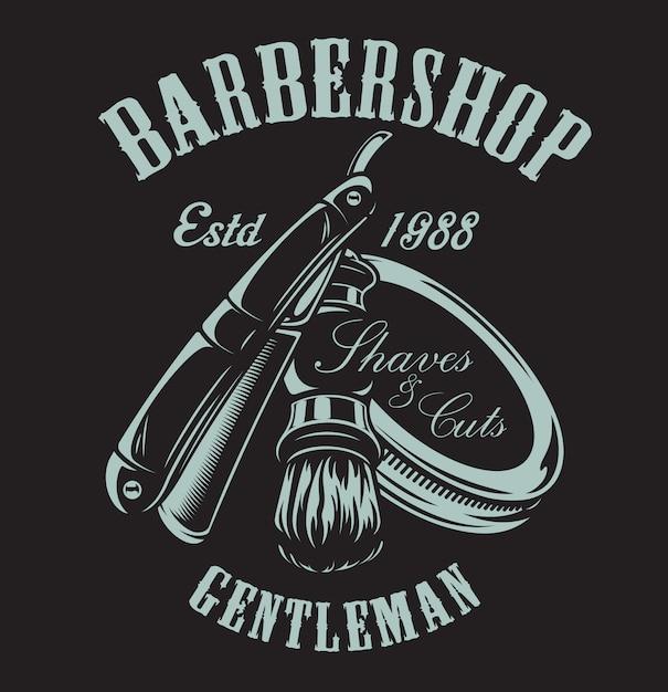 Ilustración sobre el tema de la barbería con una maquinilla de afeitar y una brocha de afeitar sobre el fondo oscuro. Vector Premium
