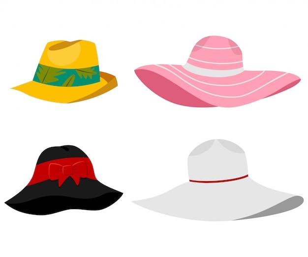 Ilustración de sombreros de playa de verano. vector conjunto de dibujos animados plana de tocados masculinos y femeninos aislados Vector Premium