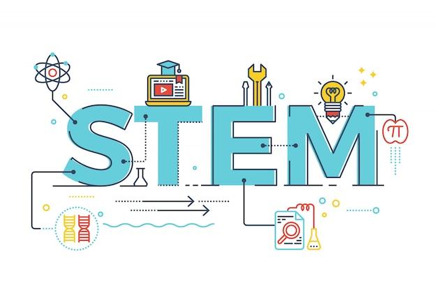 Ilustración de stem - ciencia, tecnología, ingeniería, matemáticas. Vector Premium