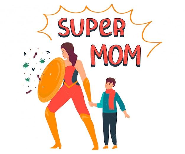 Ilustración de super mamá, personaje de madre de dibujos animados en traje de superhéroe que protege al niño del virus, coronavirus en blanco Vector Premium