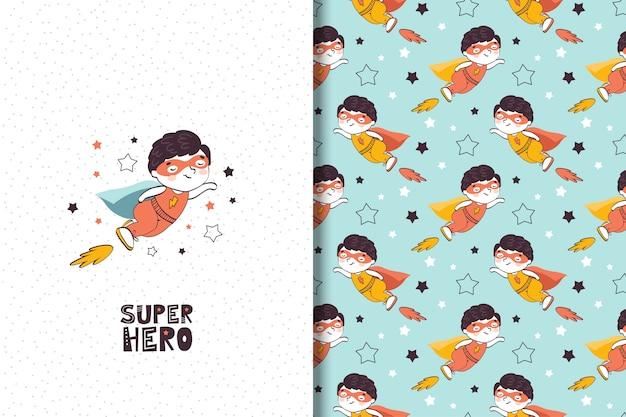 Ilustración de superhéroe de niño de dibujos animados y patrones sin fisuras. Vector Premium
