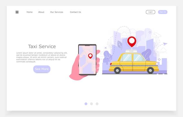 Ilustración de taxi plano, mano con llamadas telefónicas de taxi, concepto de servicio de taxi. Vector Premium