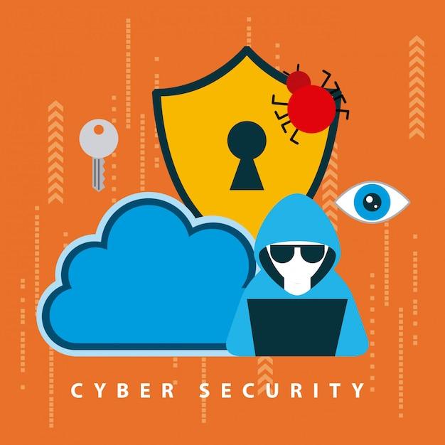 Ilustración de tecnología de seguridad cibernética vector gratuito