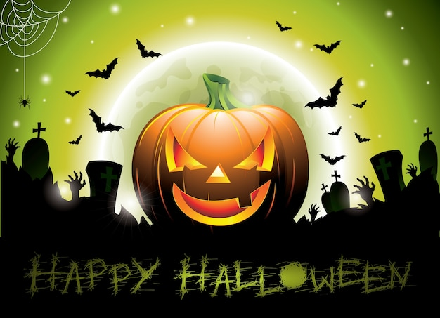 Ilustración en un tema feliz de halloween con la calabaza. Vector Premium