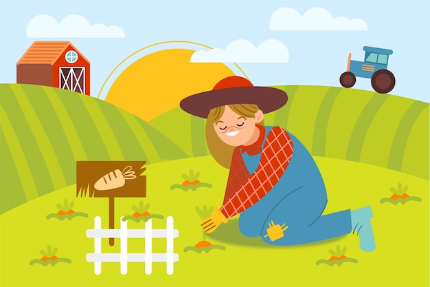 Ilustración con tema de granja orgánica vector gratuito