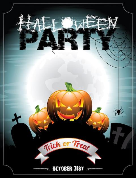 Ilustración en un tema de halloween con pumkins. Vector Premium