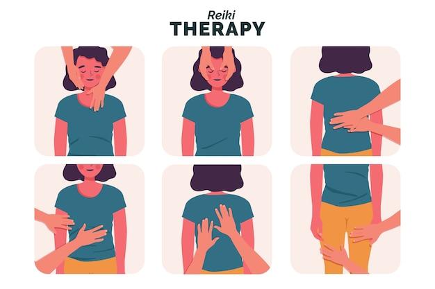 Ilustración de la terapia de reiki vector gratuito