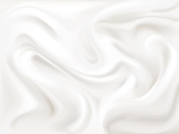 Ilustración de textura de yogur, crema o seda del patrón de flujo ondulado de pintura blanca líquida 3d vector gratuito