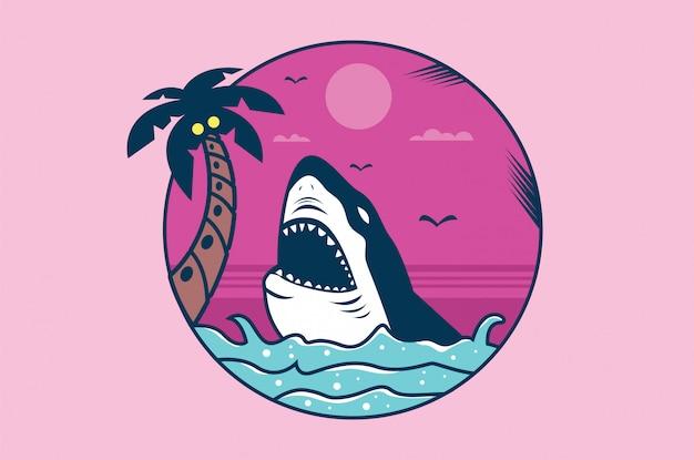 Ilustración de tiburón para camiseta y otros usos. Vector Premium