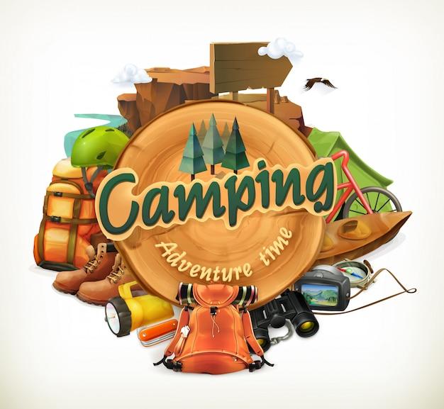 Ilustración de tiempo de aventura en camping Vector Premium