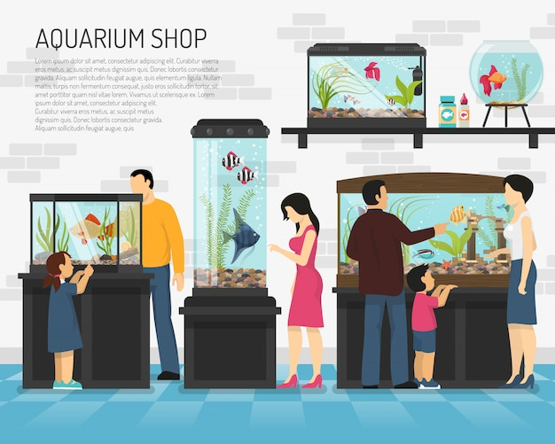 Ilustración de la tienda del acuario vector gratuito