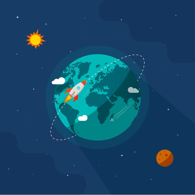 Ilustración de la tierra en el espacio, nave espacial cohete volando alrededor de la órbita del planeta en el universo del sistema solar Vector Premium