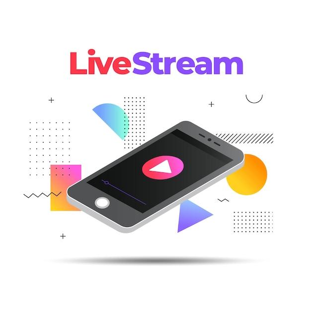 Ilustración de transmisión en vivo con teléfono inteligente vector gratuito