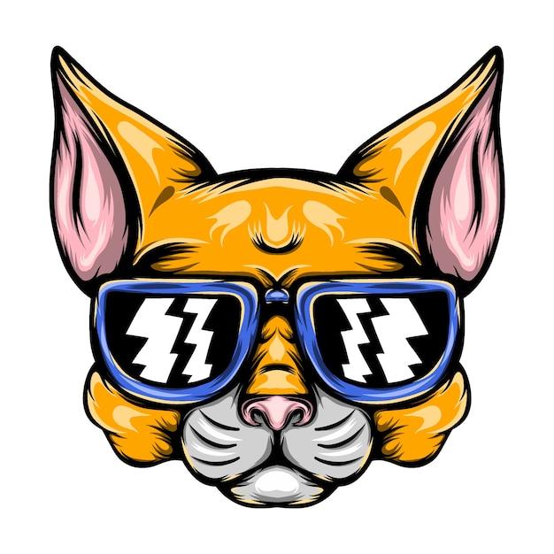 La ilustración del travieso gato amarillo con gafas de sol azules para la inspiración de la mascota. Vector Premium