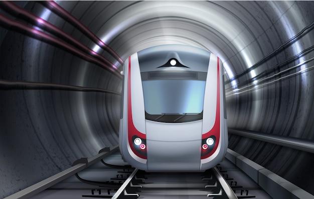 Ilustración del tren en movimiento en el túnel. vista frontal aislada Vector Premium