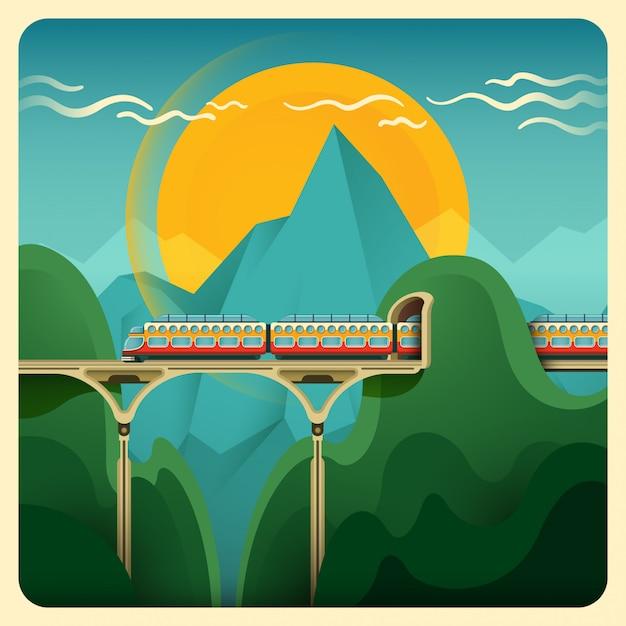 Ilustración de tren Vector Premium