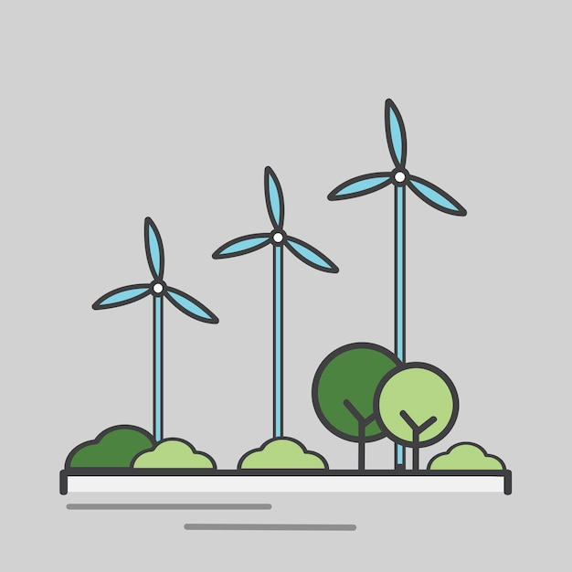 Ilustración de una turbina de viento de generación de energía vector gratuito