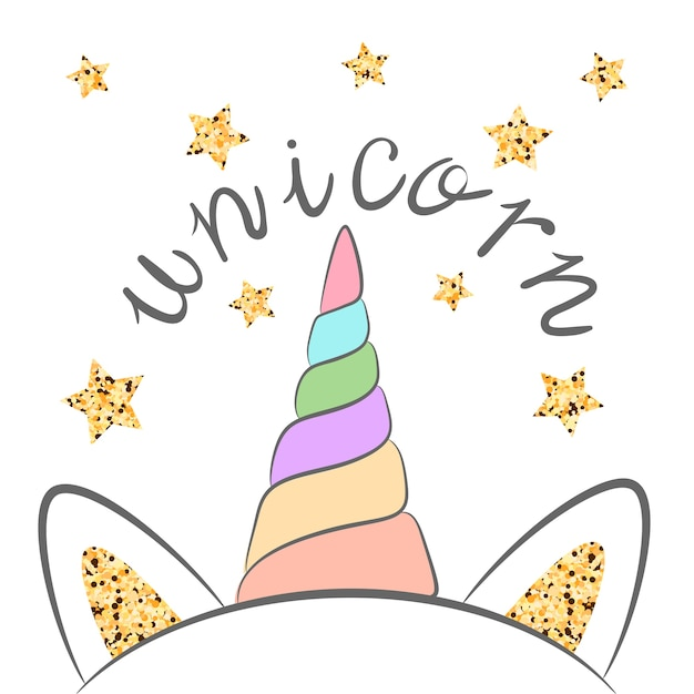 Ilustración de unicornio de brillo. mano de dibujos animados dibujar  personaje de monstruo para la camiseta de impresión.  e5676a63b296d