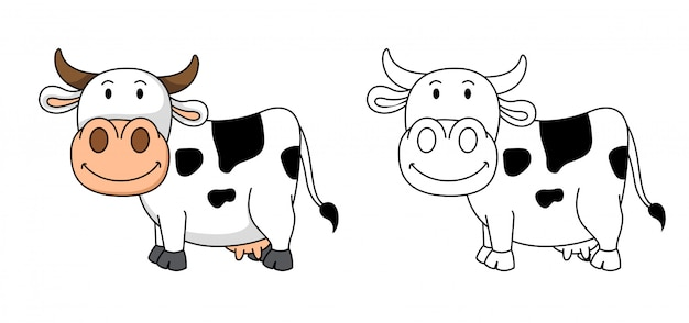 Ilustracion De Vaca Educativa Para Colorear Vector Premium