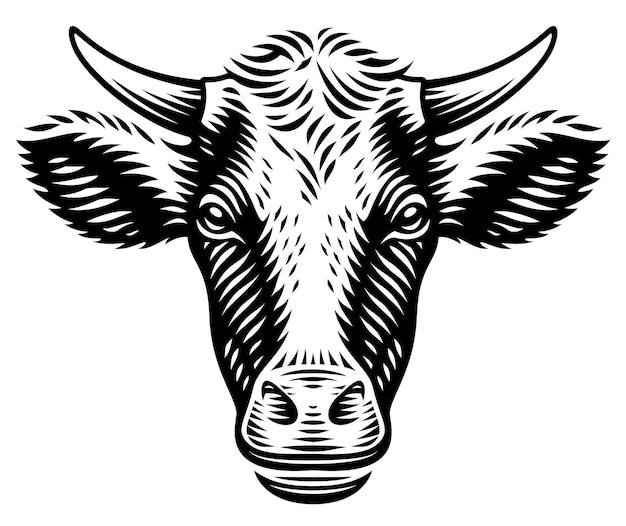 Una ilustración de una vaca en estilo de grabado sobre fondo blanco. Vector Premium
