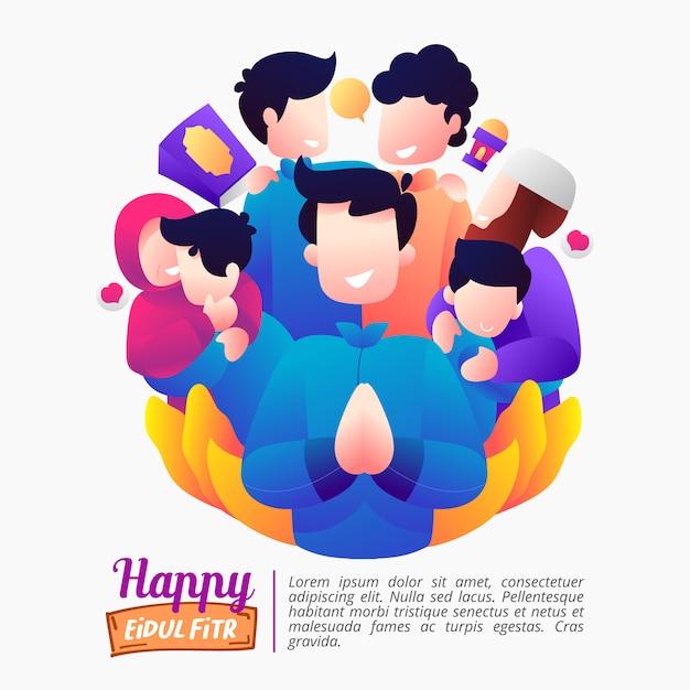 Ilustración de las vacaciones de eid al-fitr con una familia feliz. Vector Premium