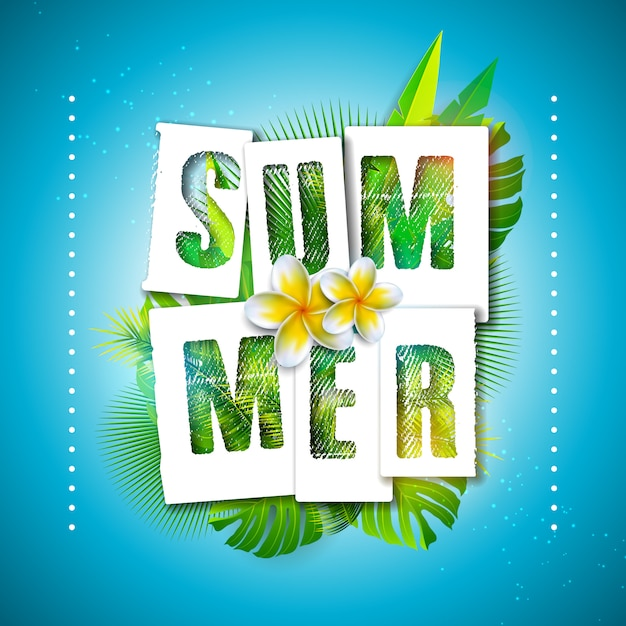 Ilustración de vacaciones de verano con letra de tipografía y hojas de palmeras tropicales vector gratuito