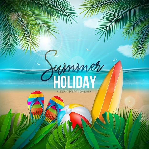 Ilustración de vacaciones de verano con pelota de playa y paisaje del océano vector gratuito