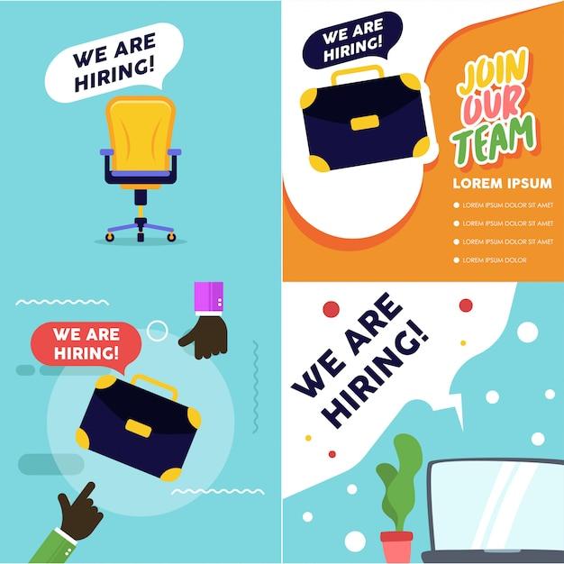 Ilustración de vacante de trabajo. estamos contratando banner vacante. proceso de reclutamiento Vector Premium