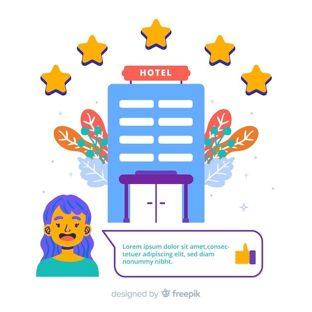 Ilustración de valoración de hotel en diseño plano vector gratuito