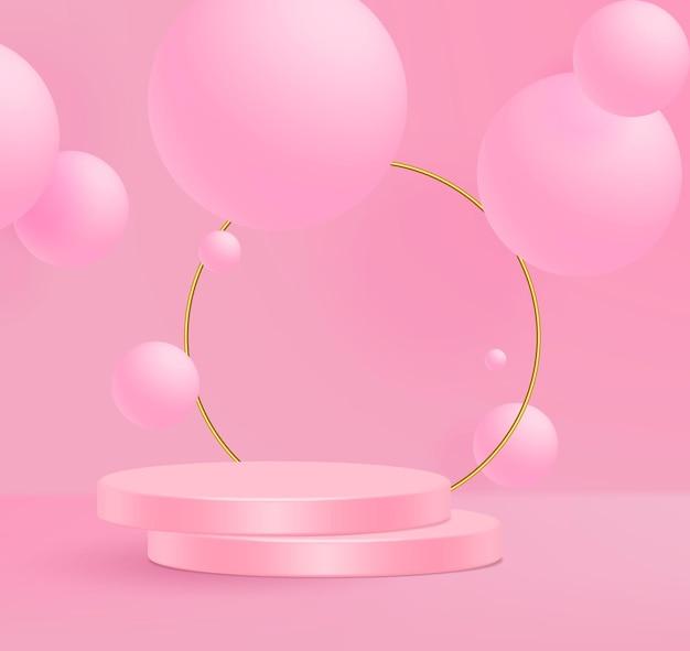 Ilustración de vector 3d soporte mínimo escena de pared rosa. Vector Premium