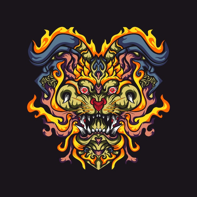Ilustración de vector abstracto monstruos cabeza de tigre Vector Premium
