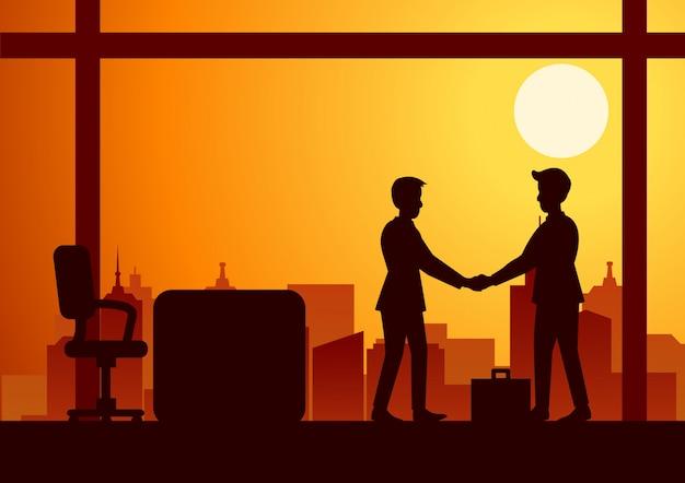 Ilustración de vector de un apretón de manos de dos hombres de negocios Vector Premium