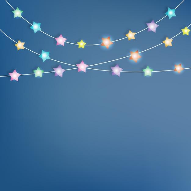 Ilustración de vector de arte de papel estrella de iluminación Vector Premium
