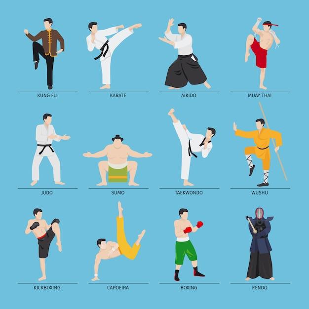 Ilustración de vector de artes marciales asiáticas Vector Premium