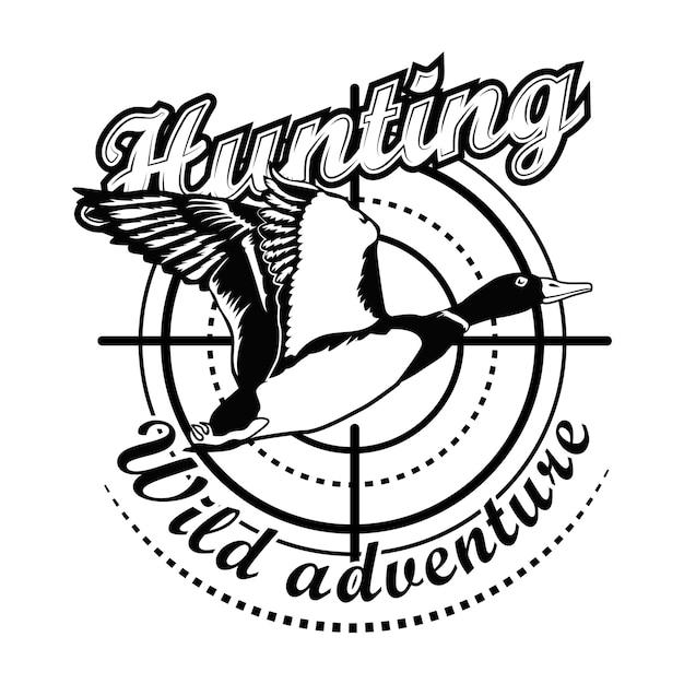 Ilustración de vector de aventura de caza. apuntando al pato volador con texto vector gratuito