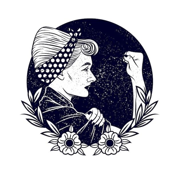 Ilustración de vector blanco y negro sobre feminismo y derechos de las mujeres. tatuaje con una mujer en estilo vintage. mujer con una venda en la cabeza muestra un puño en protesta Vector Premium