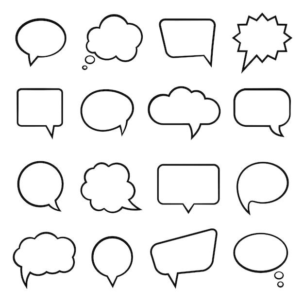 Ilustración de vector de burbujas de discurso vacío en blanco vector gratuito